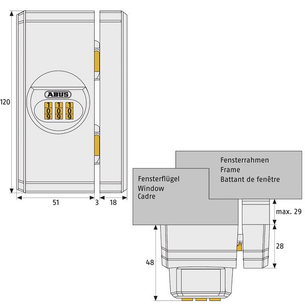 keysis shop fensterzusatzschloss abus fts106 mit zahlencode. Black Bedroom Furniture Sets. Home Design Ideas